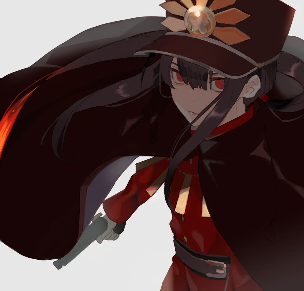1boy bangs black_hair blunt_bangs cape commentary_request fate_(series) grey_background gun hair_between_eyes hat holding holding_gun holding_weapon jacket kibadori_rue long_hair looking_at_viewer male_focus military military_uniform oda_nobukatsu_(fate/grand_order) parted_lips peaked_cap red_eyes red_jacket simple_background solo standing uniform upper_body weapon