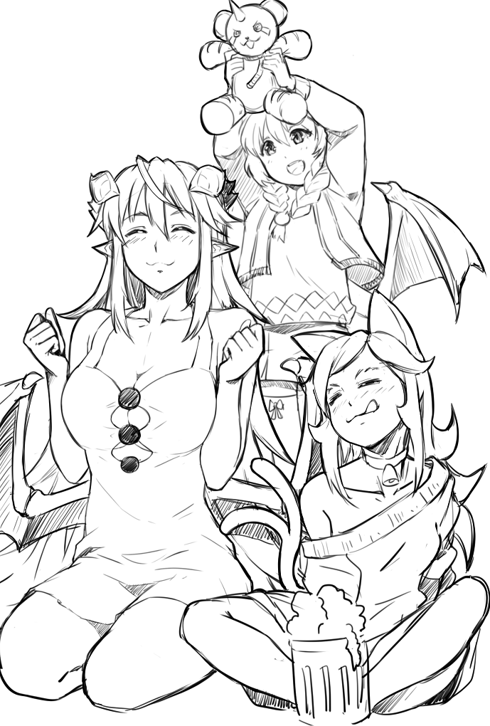 3girls :3 :d :q animal_ears bangs bare_arms bare_shoulders bell bell_collar blush braid breasts cat_ears cat_tail cleavage closed_eyes collar demon_girl demon_horns dress facing_viewer greyscale hair_between_eyes hands_up horns indian_style jingle_bell large_breasts licking_lips long_hair long_sleeves low_wings maritan maritan_(pixelmaritan) monochrome monster_girl_encyclopedia multiple_girls nekomata off_shoulder open_mouth original runa seiza sitting smile standing stuffed_animal stuffed_toy sundress sweater tail tongue tongue_out twin_braids wings