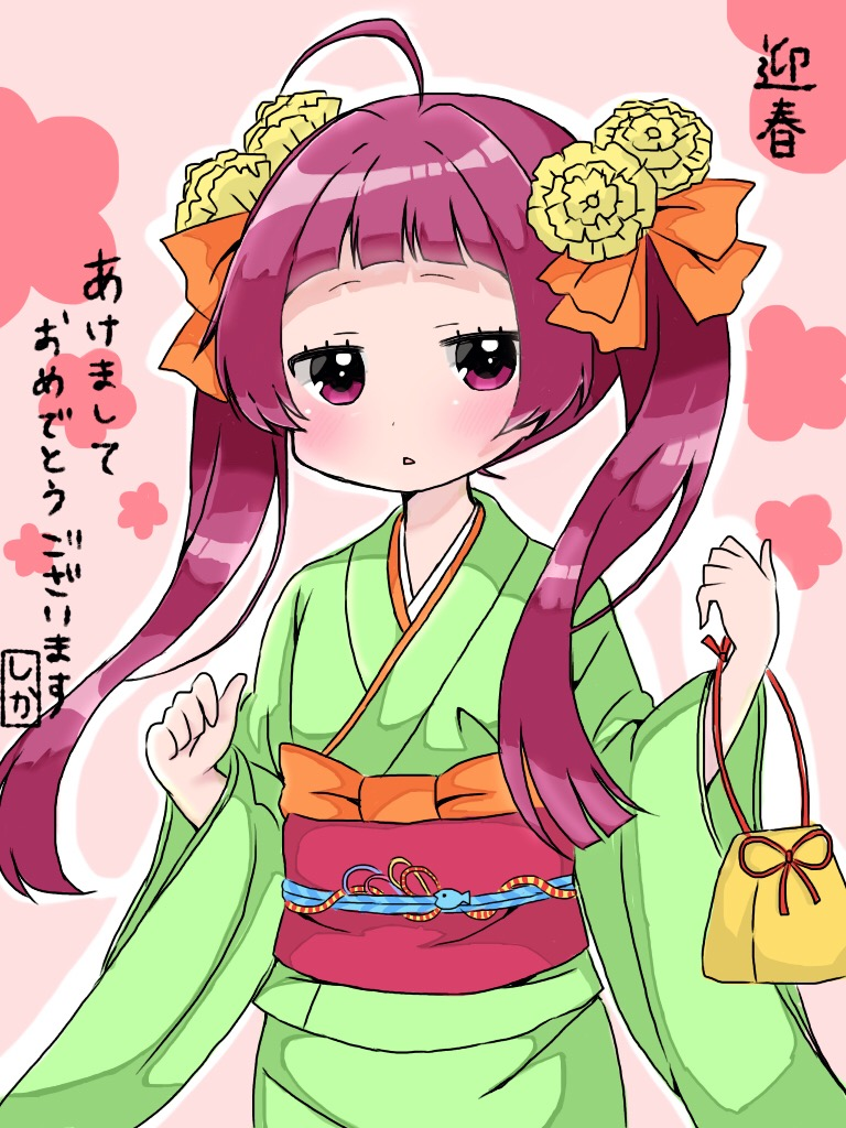 1girl ahoge bangs blunt_bangs blush commentary_request flower green_kimono hair_flower hair_ornament hair_ribbon harumi_shinju japanese_clothes jitome kimono kinchaku long_hair long_sleeves looking_at_viewer new_year obi orange_ribbon parted_lips pouch purple_hair ribbon sash shika_(s1ka) solo tokyo_7th_sisters translation_request twintails upper_body violet_eyes wide_sleeves