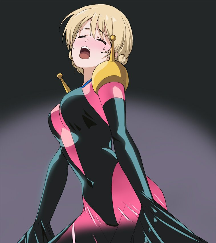 1girl a1 blonde_hair blue_eyes blush bodysuit braid closed_eyes cosplay cowboy_shot darjeeling g_gundam girls_und_panzer gloves gundam mobile_trace_suit pink_bodysuit rain_mikamura rain_mikamura_(cosplay) short_hair skin_tight solo tied_hair twin_braids