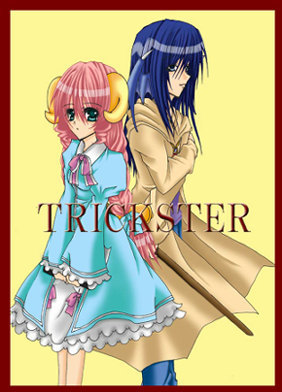blue_eyes blue_hair bow braid dragon_(trickster) dress horns pink_hair ribbons sheep_(trickster) trickster twin_braids twintails watermark wings