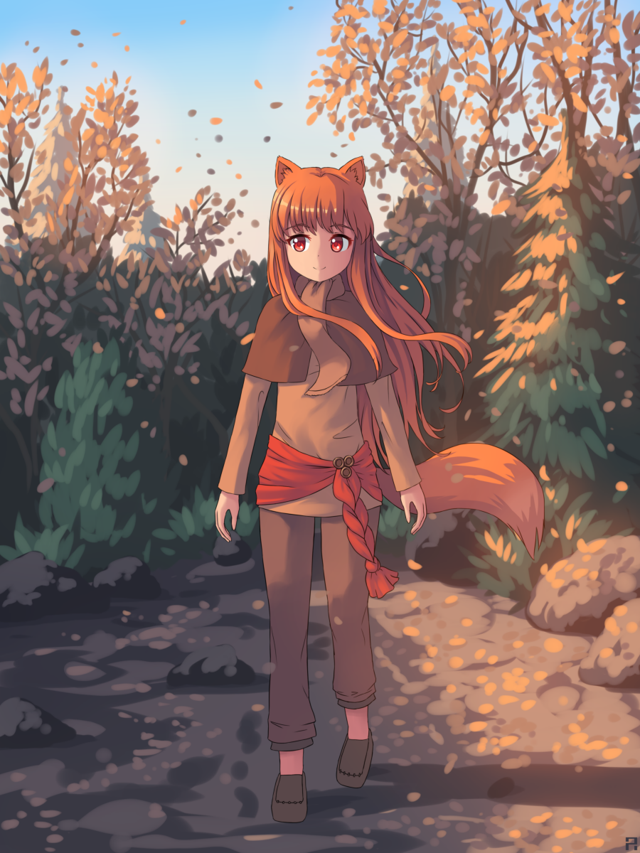 1girl animal_ears aposine arms_at_sides autumn capelet capri_pants forest full_body hair_blowing highres holo loafers long_hair long_sleeves looking_at_viewer nature outdoors pants red_eyes redhead sash scarf shadow shoes sidelocks smile solo spice_and_wolf tail tree twilight walking wind wolf_ears wolf_tail