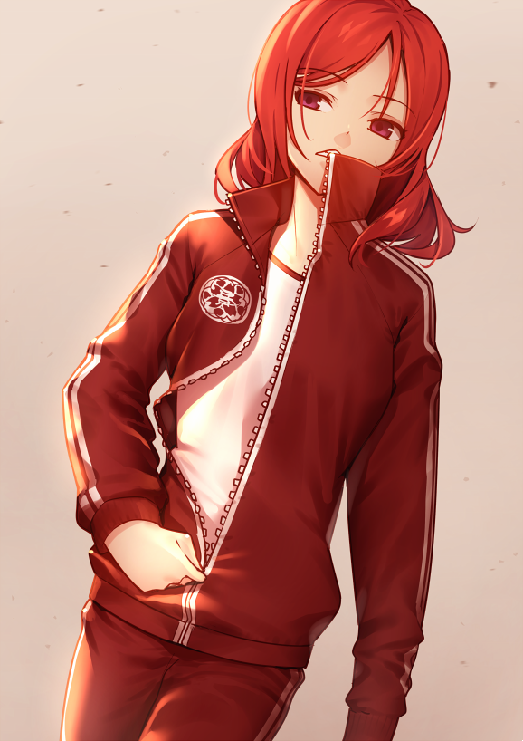 1girl collar_up commentary_request dutch_angle frown grey_background jacket long_sleeves looking_to_the_side love_live! love_live!_school_idol_project nagareboshi nishikino_maki pants parted_lips red_jacket red_pants redhead simple_background solo track_jacket track_pants track_suit unzipping violet_eyes