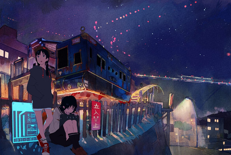 2girls architecture black_hair city fence ground_vehicle multiple_girls night night_sky original outdoors sky train u_(pikopicoufo)