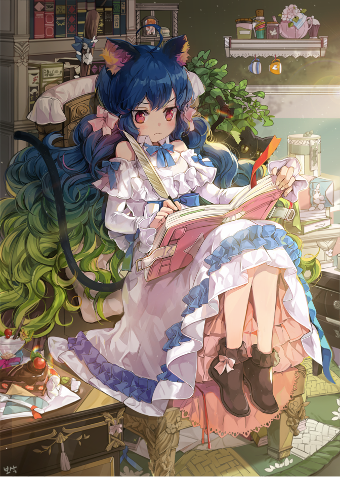 1girl ahoge animal_ears artist_name bangs black_cat blue_bow blue_hair blue_neckwear blush book bookshelf boots bosack bow bowtie brown_footwear cat cat_ears cat_tail cup curly_hair detached_sleeves dress frilled_boots frilled_dress frilled_skirt frills green_hair hair_bow knees_up long_hair long_sleeves multicolored_hair original pastry pink_bow plant potted_plant quill red_eyes rug shelf sitting skirt solo table tail teacup teapot two-tone_hair wavy_mouth