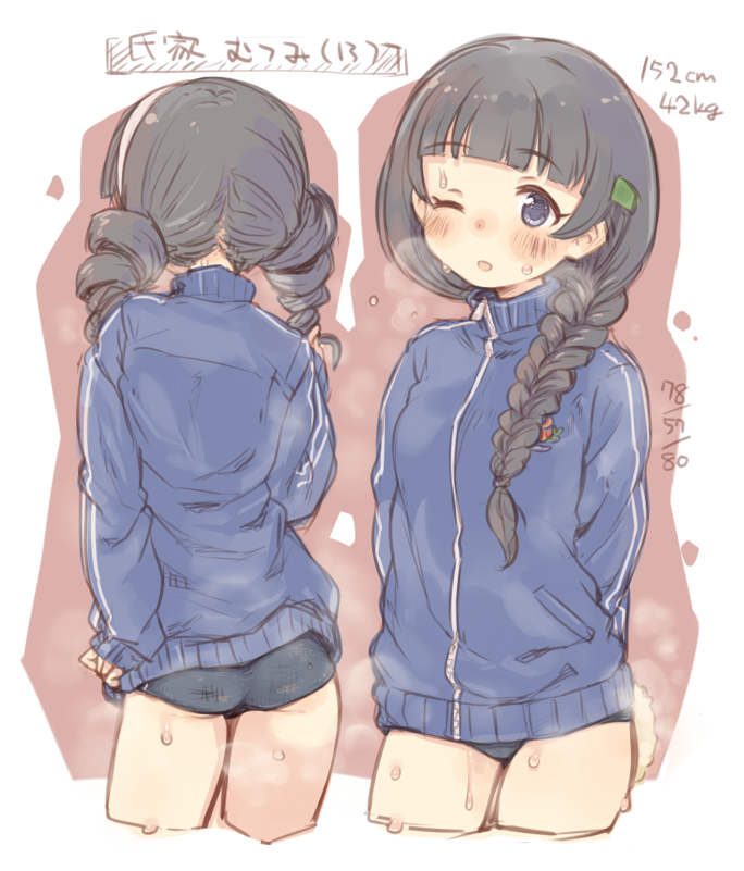 1girl 7010 ass bangs black_hair blue_buruma blue_eyes blue_jacket blunt_bangs braid breath character_name commentary cowboy_shot cropped_legs drill_hair eyebrows_visible_through_hair from_behind hair_ornament hairclip hand_on_hip height idolmaster idolmaster_cinderella_girls jacket long_hair long_sleeves looking_at_viewer measurements multiple_views one_eye_closed open_mouth single_braid steam sweat track_jacket ujiie_mutsumi weight