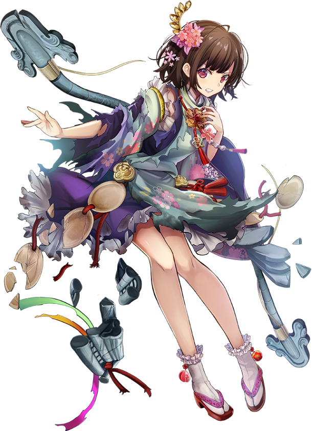 1girl artist_request black_hair bow_(weapon) broken broken_weapon flower full_body hair_flower hair_ornament japanese_clothes oshiro_project oshiro_project_re short_hair solo torn_clothes transparent_background violet_eyes weapon yanaginogosho_(oshiro_project)