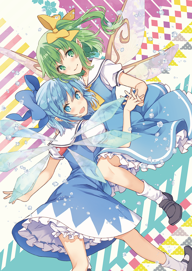 2girls bare_arms black_footwear blue_bow blue_dress blue_eyes blue_hair bow cirno closed_mouth daiyousei dress fairy_wings green_eyes green_hair hair_bow ice ice_wings looking_at_viewer looking_back macco multiple_girls open_mouth puffy_short_sleeves puffy_sleeves shoes short_dress short_hair short_sleeves side_ponytail smile socks touhou white_legwear wings yellow_bow