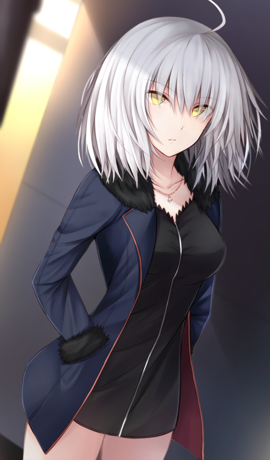1girl ahoge black_dress black_footwear black_jacket breasts coat cowboy_shot dress eyebrows_visible_through_hair fate/grand_order fate_(series) full-length_zipper fur-trimmed_coat fur-trimmed_sleeves fur_trim gradient hands_in_pockets jacket jeanne_d'arc_(alter)_(fate) jeanne_d'arc_(fate)_(all) jewelry kanpyou_(hghgkenfany) looking_at_viewer medium_breasts necklace open_clothes open_coat open_jacket short_dress short_hair silver_hair solo wicked_dragon_witch_ver._shinjuku_1999 yellow_eyes zipper