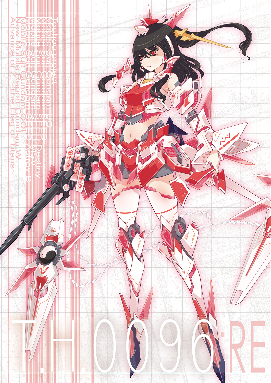 1girl adapted_costume armor beam_rifle black_hair energy_gun full_body fusion glowing grey_background gun gundam gundam_unicorn hair_tubes hakurei_reimu headpiece highres legs_crossed long_hair mecha_musume ofuda raptor7 red_eyes shide shield simple_background standing touhou unicorn_gundam weapon yin_yang