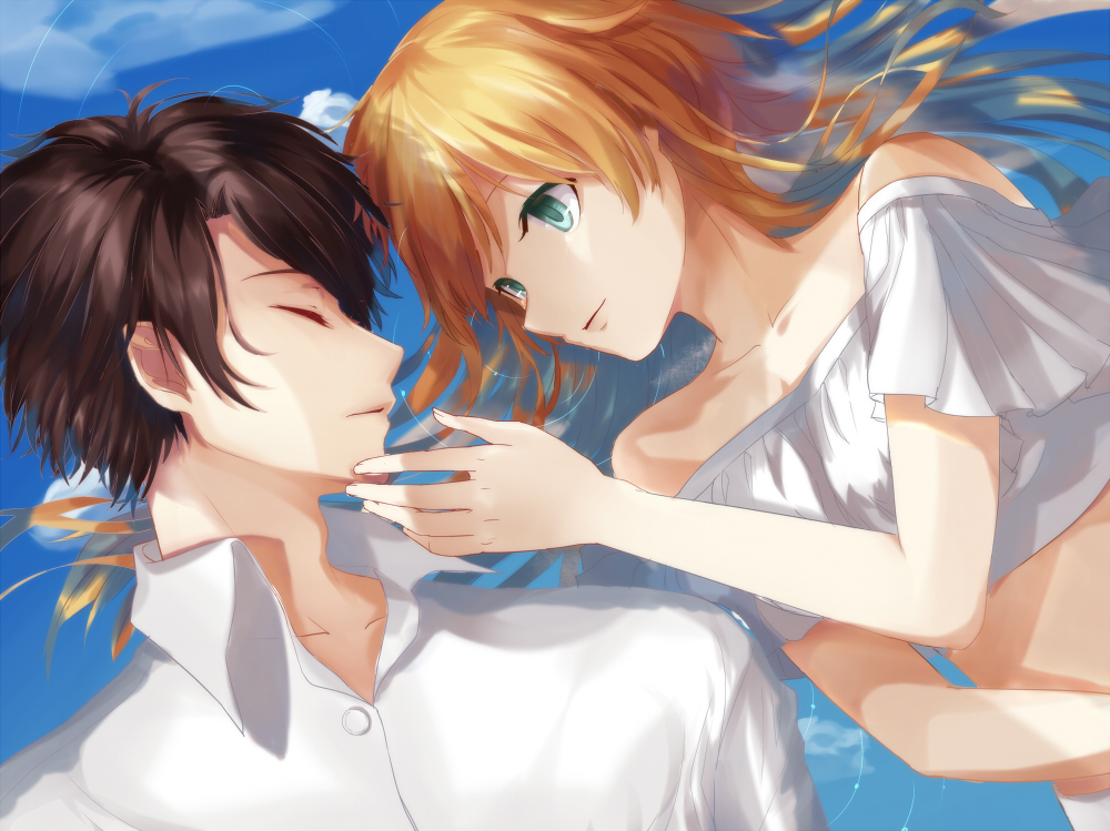 1boy 1girl aldnoah.zero aqua_eyes asseylum_vers_allusia blonde_hair brown_hair closed_eyes collarbone crop_top dress_shirt fengchuilizili kaizuka_inaho long_hair lying midriff on_back one_side parted_lips shirt short_sleeves upper_body white_shirt