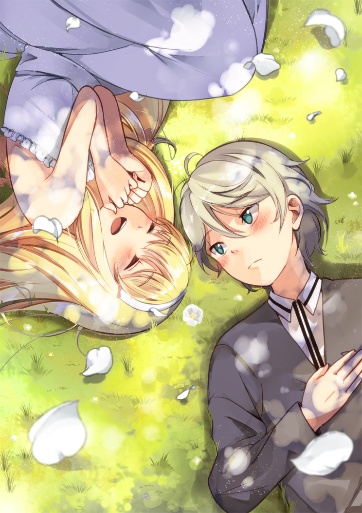 1boy 1girl :d aldnoah.zero asseylum_vers_allusia blonde_hair blush closed_eyes day dress eyebrows_visible_through_hair frilled_dress frills from_above grass green_eyes hair_between_eyes long_hair lying on_back on_side open_mouth outdoors petals silver_hair slaine_troyard sleeveless sleeveless_dress smile uminekoritorubasuta-zu white_dress
