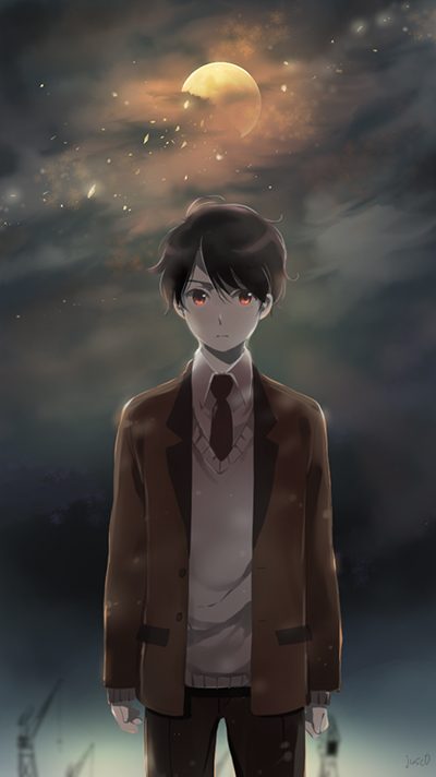 1boy aldnoah.zero black_hair black_neckwear black_pants brown_jacket cowboy_shot full_moon grey_sweater jacket jusc0 kaizuka_inaho looking_at_viewer moon necktie open_clothes open_jacket pants red_eyes shirt solo standing white_shirt