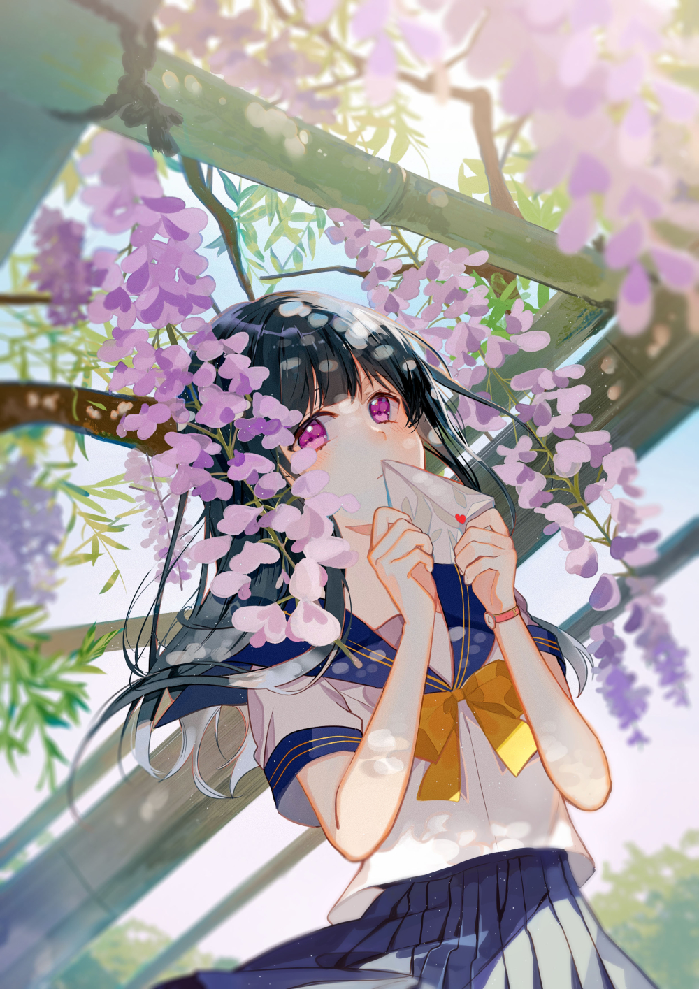 1girl bangs black_hair blue_skirt blue_sky bow bowtie covering_mouth day flower gradient_hair heart highres holding holding_letter letter long_hair looking_at_viewer love_letter multicolored_hair original outdoors pink_eyes pleated_skirt school_uniform serafuku short_sleeves skirt sky sunlight tatsumi3 watch watch wisteria yellow_bow yellow_bowtie