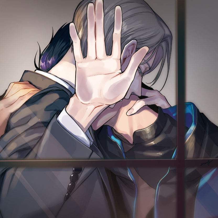 2boys against_glass amg_(nwmnmllf) black_hair blue_eyes hand_on_another's_neck jacket katsuki_yuuri male_focus multiple_boys silver_hair track_jacket viktor_nikiforov window yaoi yuri!!!_on_ice