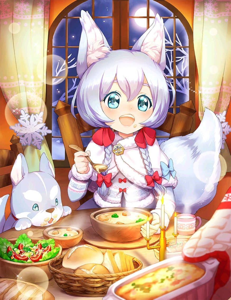 1girl :d animal_ears aqua_eyes artist_request baguette bangs bare_tree blue_bow blush bob_cut bow bowl braid bread brooch candlestand commentary_request cup curtains dot_nose eyebrows_visible_through_hair eyelashes food food_on_face full_moon fur_trim hair_between_eyes hair_over_shoulder hair_ribbon hand_up happy head_out_of_frame holding holding_spoon indoors jewelry koyomi_(shironeko_project) light_blue_hair light_particles lips long_sleeves moon mug night night_sky official_art on_chair open_mouth oven_mitts parted_bangs raised_eyebrows red_bow ribbon salad shawl shironeko_project short_eyebrows short_hair_with_long_locks sitting sky slice_of_bread smile snowflakes sparkle spoon steam stew tail tarou_(shironeko_project) teeth thick_eyebrows tree tress_ribbon twin_braids winter winter_clothes wolf_ears wolf_girl wolf_tail