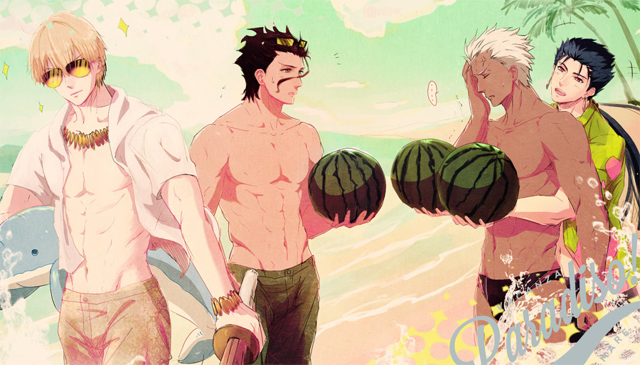 4boys archer beach fate/stay_night fate/zero fate_(series) food fruit gilgamesh jacket lancer lancer_(fate/zero) male_focus male_swimwear multiple_boys palm_tree saryo shinai sparkle stuffed_animal stuffed_dolphin stuffed_toy sunglasses swim_briefs swim_trunks swimwear sword tree watermelon weapon
