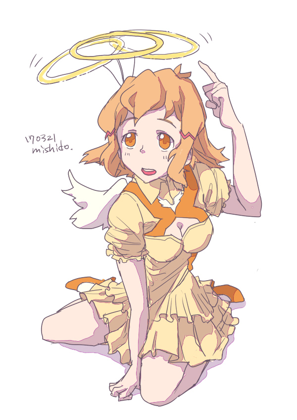 10s 1girl angel_wings artist_name breasts brown_eyes brown_hair cleavage cleavage_cutout dated dress halo high_heels layered_dress mishido_sun orange_eyes orange_shoes senki_zesshou_symphogear shoes short_sleeves simple_background sitting solo tachibana_hibiki_(symphogear) wariza white_background wings yellow_dress