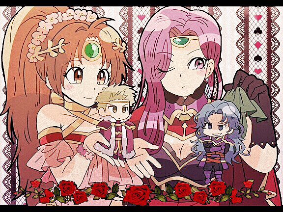 2boys 2girls armor blonde_hair breasts cape chibi cleavage dress earrings fire_emblem fire_emblem:_fuuin_no_tsurugi fire_emblem:_seima_no_kouseki fire_emblem_echoes:_mou_hitori_no_eiyuuou fire_emblem_heroes gloves jewelry kiriya_(552260) large_breasts long_hair multiple_boys multiple_girls open_mouth pink_hair ponytail purple_armor purple_cape purple_hair short_hair smile sonia_(fire_emblem_gaiden) tiara violet_eyes zephiel