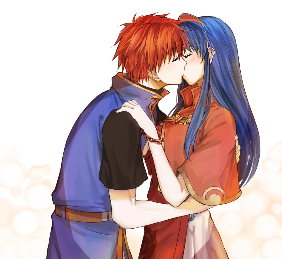 1boy 1girl belt blue_hair blush bracelet capelet closed_eyes couple delsaber dress fire_emblem fire_emblem:_fuuin_no_tsurugi hairband hetero hug jewelry kiss lilina long_hair profile redhead roy_(fire_emblem) shirt short_hair short_sleeves simple_background spiky_hair upper_body vest white_background