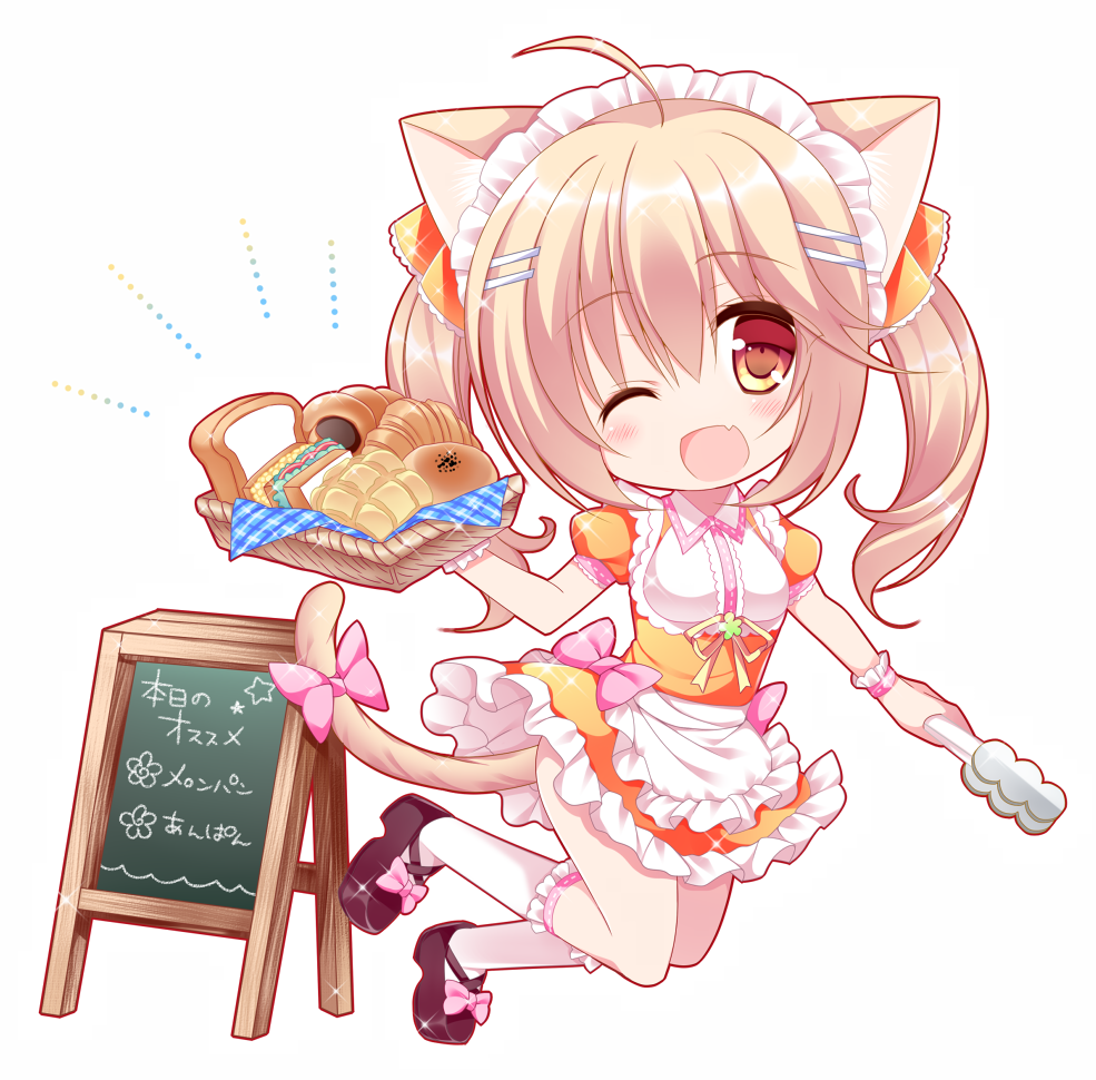 1girl ;d ahoge animal_ears apron basket black_footwear blush bow bread brown_eyes cat_ears cat_girl cat_tail chibi commentary_request croissant eyebrows_visible_through_hair fang food frilled_apron frilled_legwear frilled_skirt frills hair_between_eyes hair_ornament hair_ribbon hairclip head_tilt holding holding_basket kneehighs light_brown_hair long_hair looking_at_viewer maid_headdress one_eye_closed open_mouth orange_ribbon orange_shirt orange_skirt original pink_bow plaid puffy_short_sleeves puffy_sleeves ribbon sandwich shikito shirt shoes short_sleeves sidelocks sign skirt smile solo tail tail_bow tongs twintails waist_apron waitress white_apron white_background white_legwear wrist_cuffs