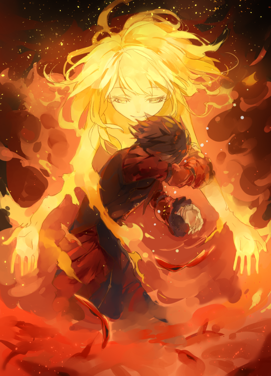1boy 1girl bangs black_hair blonde_hair closed_mouth eyebrows_visible_through_hair fire from_side long_hair marseus outstretched_arms shuzi smile sparks unlight