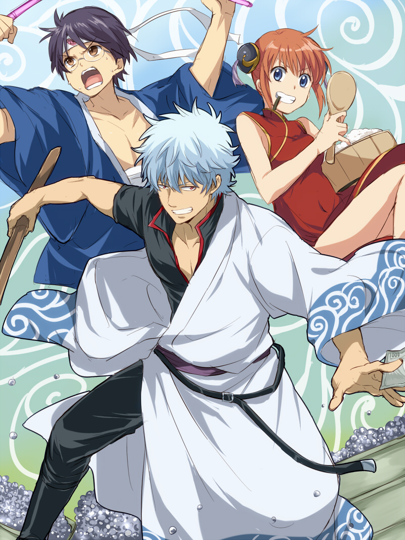 1girl 2boys arms_up bandage belt black_hair blue_eyes blue_kimono brown_hair china_dress chinese_clothes double_bun dress eyebrows_visible_though_hair gintama grin headband holding holding_sword holding_weapon japanese_clothes kagura_(gintama) kimono looking_at_viewer maruki_(punchiki) mouth_hold multiple_boys red_dress red_eyes sakata_gintoki shimura_shinpachi shinai short_hair sidelocks silver_hair sleeveless sleeveless_dress smile sword weapon