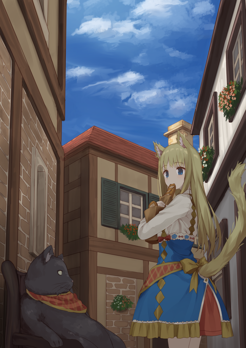 1girl animal animal_ears bangs black_cat blonde_hair blue_eyes blue_skirt blue_sky bow bread building cat cat_ears cat_tail chair commentary_request cowboy_shot day eating eyebrows_visible_through_hair food frilled_skirt frills high-waist_skirt holding holding_bag holding_food house long_sleeves looking_to_the_side original outdoors pretzel_stick shirt skirt sky solo standing tail tareme town usagino_suzu whiskers white_shirt yellow_bow