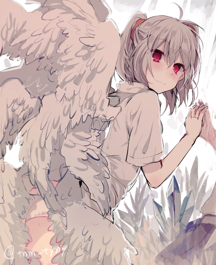 1girl against_glass angel_chromosome_xx angel_wings bangs blush closed_mouth eyebrows_visible_through_hair feathered_wings from_behind ikeuchi_tanuma looking_at_viewer looking_back medium_hair multiple_wings neon_genesis_evangelion panties pink_eyes reflection short_sleeves smile solo tabris tabris-xx twitter_username two_side_up underwear white_panties wings