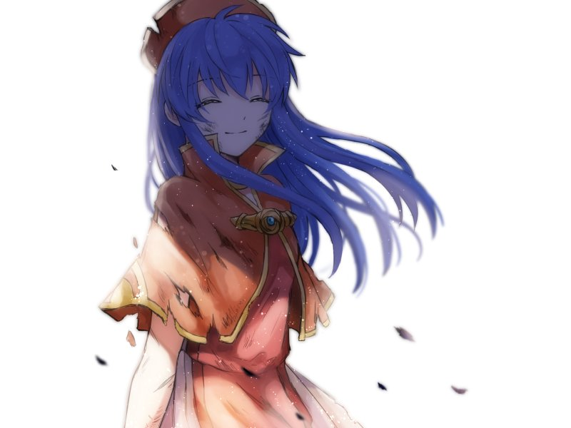 1girl blue_hair blush cape closed_eyes dress fire_emblem fire_emblem:_fuuin_no_tsurugi hat lilina long_hair simple_background smile solo wspread