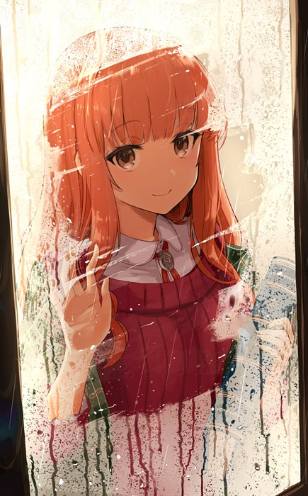 1girl against_glass bangs blunt_bangs book brown_eyes closed_mouth collared_shirt commentary_request eyebrows_visible_through_hair from_outside holding holding_book indoors long_hair looking_at_viewer miruto_netsuki one_side_up orange_hair ribbed_sweater shirt smile solo sweater upper_body window
