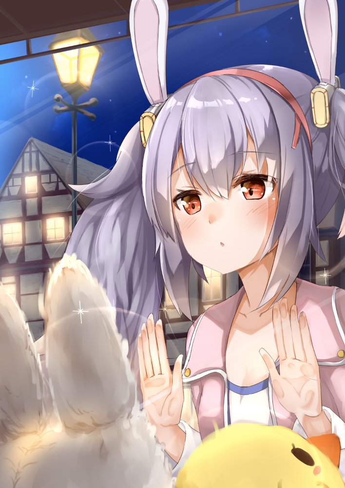 1girl against_glass ame. animal_ears azur_lane bangs blush brown_eyes building chestnut_mouth commentary_request eyebrows_visible_through_hair hair_between_eyes hairband headgear house jacket laffey_(azur_lane) lamppost long_hair long_sleeves looking_away night night_sky open_clothes open_jacket outdoors parted_lips pink_jacket purple_hair rabbit_ears red_hairband shirt sidelocks sky solo star_(sky) starry_sky stuffed_animal stuffed_bird stuffed_bunny stuffed_toy through_window twintails white_shirt window