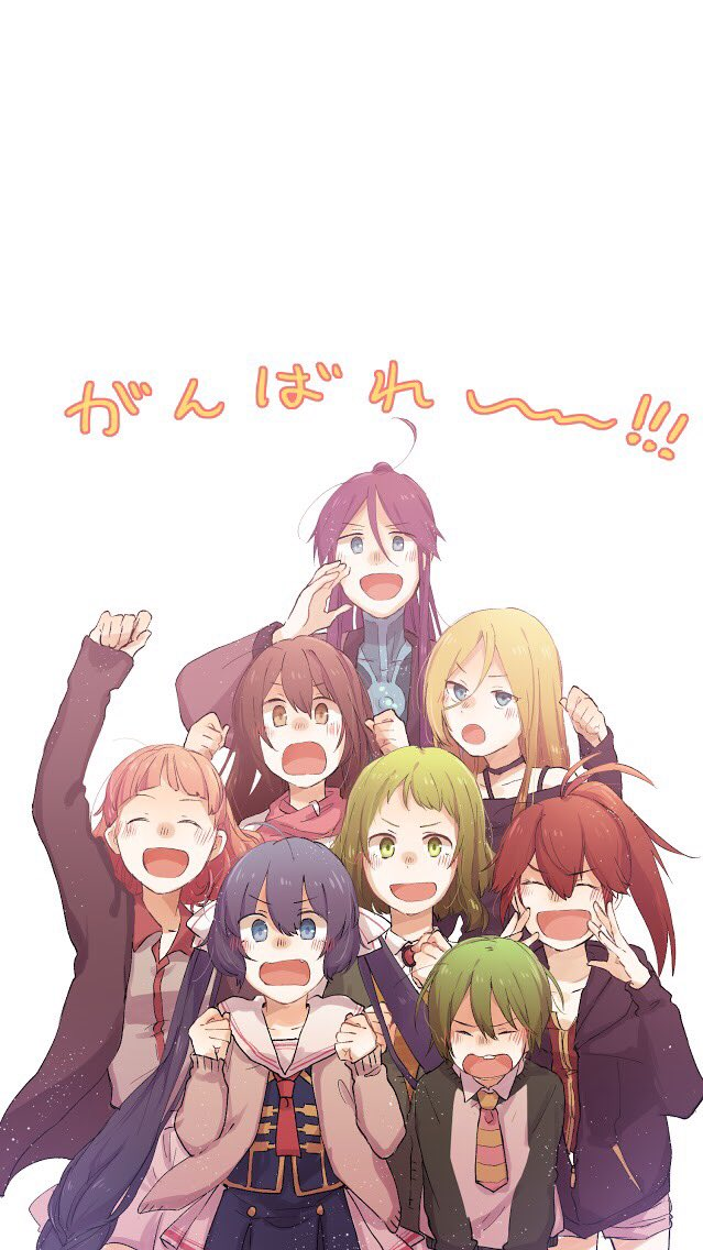 2boys 6+girls ^_^ arm_up blonde_hair blue_eyes brown_eyes buck_teeth casual chika_(vocaloid) child closed_eyes cul fang green_eyes green_hair gumi hood hoodie kamui_gakupo kokone_(vocaloid) lily_(vocaloid) long_hair mi_no_take multiple_boys multiple_girls necktie otomachi_una ponytail purple_hair redhead ryuuto_(vocaloid) school_uniform short_hair shouting smile spaghetti_strap striped_neckwear translated twintails vocaloid