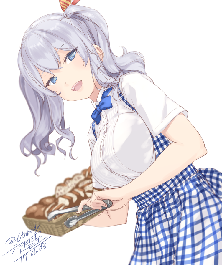 10s 1girl alternate_costume artist_name blue_eyes bread breasts collared_shirt food hair_between_eyes kantai_collection kashima_(kantai_collection) koubeya_uniform large_breasts leaning_forward open_mouth rokuwata_tomoe shirt signature silver_hair simple_background solo tongs tsurime twintails twitter_username upper_body wavy_hair white_shirt