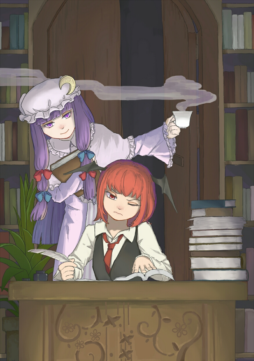 2girls alternate_hair_length alternate_hairstyle bangs bat_wings blunt_bangs book book_hug book_stack bookshelf capelet collared_shirt crescent crescent_moon_pin cup desk door dress dress_shirt eyelashes foresty frown hair_ribbon hat head_wings highres holding holding_book inkwell koakuma leaning_to_the_side library long_hair long_sleeves mob_cap multiple_girls necktie one_eye_closed open_book open_door patchouli_knowledge plant potted_plant purple_dress purple_hair quill red_eyes red_necktie redhead ribbon role_reversal shirt short_hair sitting smile standing steam striped striped_dress teacup touhou tress_ribbon very_long_hair vest violet_eyes voile white_shirt wide_sleeves wings writing