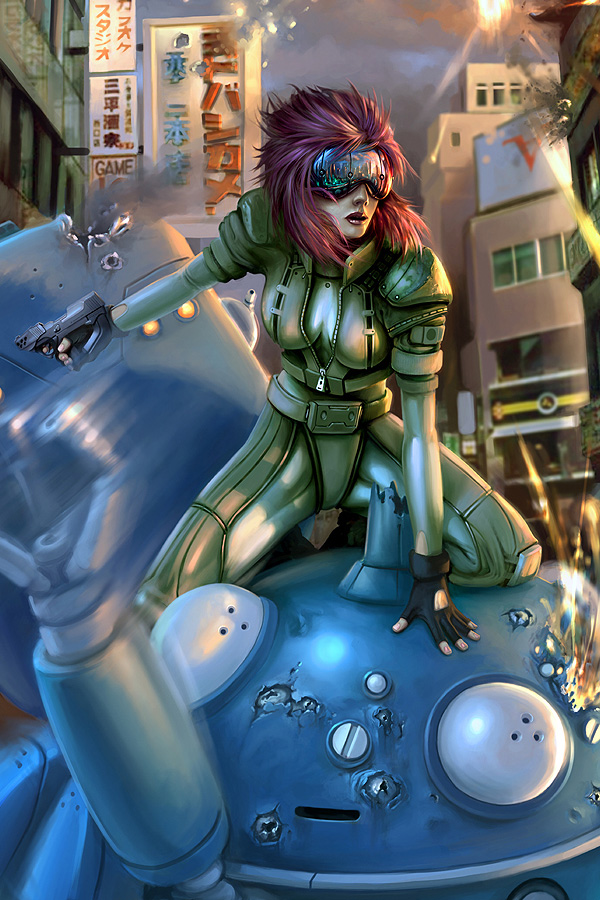 battle billboard bodysuit breasts city cleavage cyberpunk cyborg damaged daniel_conway david_conway explosion fingerless_gloves ghost_in_the_shell ghost_in_the_shell_stand_alone_complex glasses gloves gun handgun head_mounted_display jumpsuit kusanagi_motoko mecha pistol purple_hair ruins short_hair tachikoma unzipped weapon