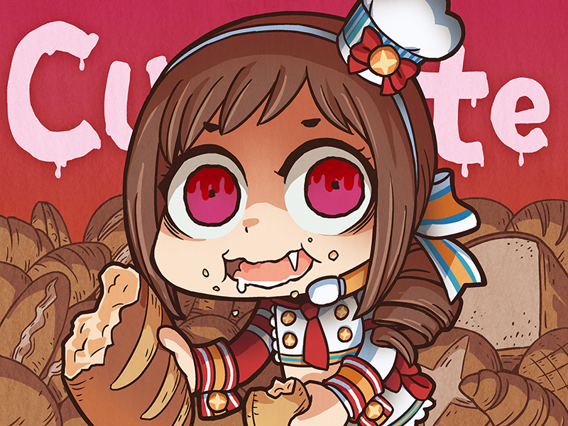 1girl asymmetrical_sleeves bangs bread brown_hair commentary_request drill_hair drooling eating english fang food food_on_face hairband idolmaster idolmaster_cinderella_girls jacket long_sleeves looking_at_viewer necktie oohara_michiru open_mouth red_background red_eyes red_necktie riyo_(lyomsnpmp) shaded_face solo