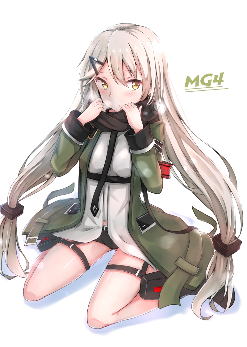 1girl bangs black_scarf black_shorts blush breath character_name coat eyebrows_visible_through_hair girls_frontline hair_between_eyes hair_ornament hairclip hakuya_(white_night) holster long_hair looking_at_viewer low_twintails mg4_(girls_frontline) open_clothes open_coat parted_lips scarf shirt shorts simple_background sitting solo thigh_holster thigh_strap tsurime twintails very_long_hair wariza white_background white_shirt