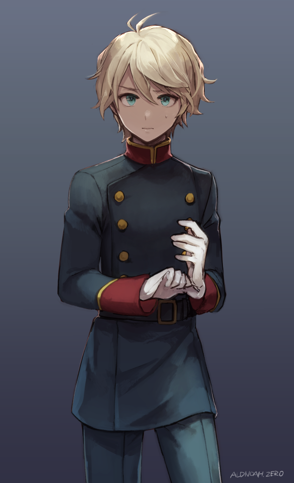 1boy adjusting_clothes adjusting_gloves aldnoah.zero aqua_eyes bangs belt blonde_hair blue_background blue_jacket blue_pants buttons closed_mouth commentary_request cowboy_shot gloves hair_between_eyes jacket long_sleeves looking_at_viewer male_focus military military_uniform pants slaine_troyard solo standing sweat uniform veryberry00 white_gloves