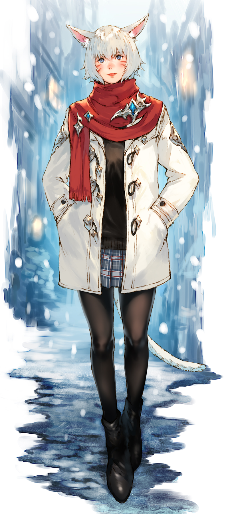 1girl alley animal_ears black_footwear black_legwear blue_eyes blush boots cat_ears cat_tail coat facial_mark final_fantasy final_fantasy_xiv full_body hands_in_pockets highres lips looking_at_viewer makimura_shunsuke miqo'te outdoors pantyhose plaid plaid_skirt pleated_skirt scarf short_hair silver_hair skirt slit_pupils smile snow solo tail y'shtola