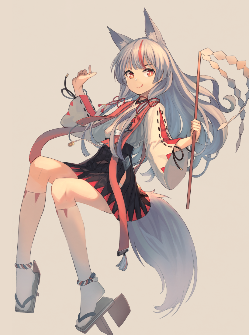 1girl animal_ears azur_lane bangs black_skirt blunt_bangs eyebrows_visible_through_hair fox_ears fox_tail full_body geta invisible_chair japanese_clothes kamikaze_(azur_lane) long_hair peroncho red_eyes red_ribbon redhead ribbon short_eyebrows silver_hair simple_background sitting skirt socks solo tail white_background
