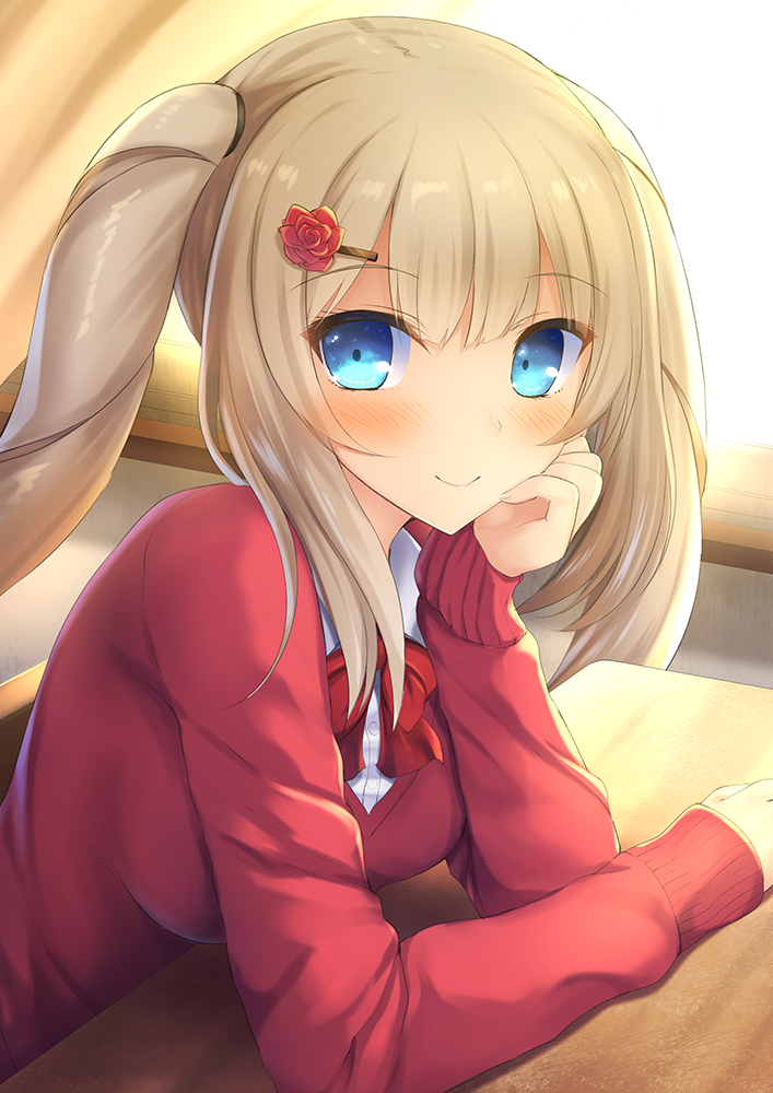 1girl alternate_costume backlighting blonde_hair blue_eyes blush bow bowtie breasts classroom closed_mouth curtains desk eyebrows_visible_through_hair fate/grand_order fate_(series) flower from_side hair_flower hair_ornament hand_on_own_cheek indoors long_hair long_sleeves looking_at_viewer looking_to_the_side marie_antoinette_(fate/grand_order) medium_breasts red_bow red_neckwear red_sweater rose_hair_ornament school_desk sidelocks smile solo taiki_ken tareme twintails upper_body wing_collar