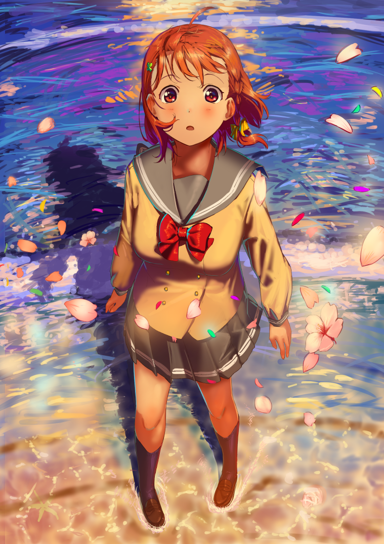 orange_haif red_eyes seifuku short_hair takami_chika