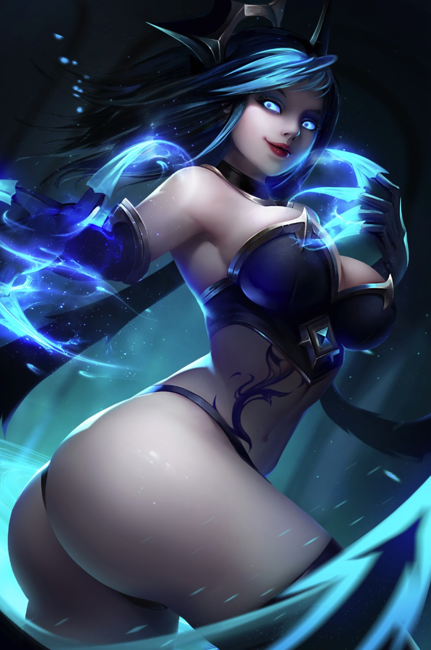 1girl artist_request ass black_hair blue_eyes breasts bustier evelynn highres large_breasts league_of_legends midriff navel tagme tattoo thigh-highs