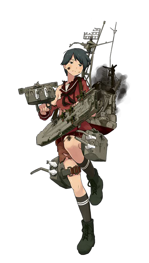 1girl aircraft aircraft_request airplane antennae belt black_eyes black_hair black_legwear boots broken broken_weapon burnt_clothes damaged flight_deck kantai_collection knee_up mogami_(kantai_collection) neckerchief official_art rigging shibafu_(glock23) short_hair shorts smoke socks solo soot thigh_strap torn_clothes transparent_background trigger_discipline turret unhappy weapon