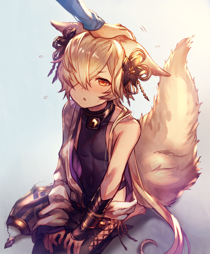 1boy animal_ears backless_outfit blush collar erun_(granblue_fantasy) fox_ears fox_tail granblue_fantasy hair_ornament hand_on_another's_head kou_(granblue_fantasy) long_hair male_focus nail_polish navel off_shoulder open_mouth petting red_eyes seiza shigaraki_(strobe_blue) side-tie_legwear sitting tail