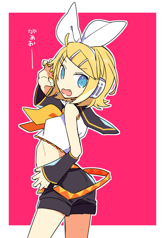 1girl ascot ass back blonde_hair blue_eyes bow breasts claw_pose crop_top detached_sleeves fang hair_bow hair_ornament hairclip headphones headset kagamine_rin looking_back midriff nail_polish open_mouth pink_background profile ribs sailor_collar short_hair shorts small_breasts solo turning_head vocaloid yellow_nails yoshiki