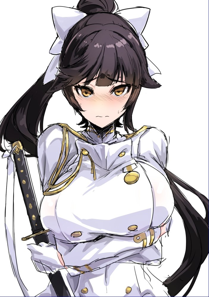 1girl azur_lane blush bow breasts gloves hair_bow large_breasts long_hair looking_at_viewer military military_uniform ponytail self_hug sketch sword takao_(azur_lane) tooya_daisuke uniform upper_body weapon