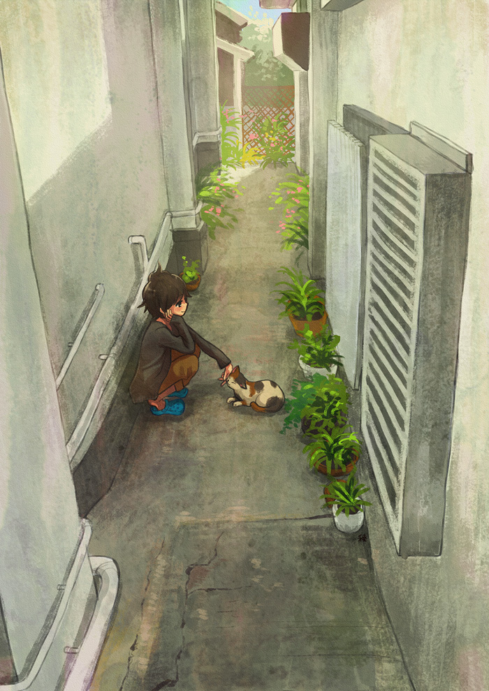 1girl ahoge air_conditioner alley black_eyes blue_footwear brown_cardigan brown_hair brown_pants cardigan cat chin_rest commentary crack day flower hand_on_own_face legs_together light_blush messy_hair negative_space original pants pants_rolled_up petting pipes plant potted_plant profile ryouga_(fm59) sandals shade short_hair sleeves_past_wrists slippers smile solo squatting trellis