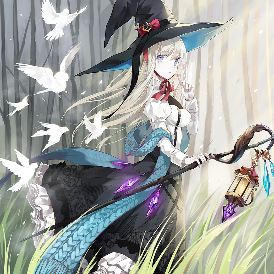 1girl bangs bird blue_eyes blue_scarf bow commentary_request crystal dress frilled_dress frills grass hair_between_eyes hat hat_bow holding holding_staff index_finger_raised lantern long_dress long_hair long_scarf looking_at_viewer open_mouth original outdoors parted_lips pigeon pointing pointing_up scarf silver_hair solo staff standing witch witch_hat yumaomi
